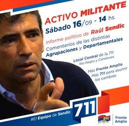 imagen del contenido Sendic le expresó su apoyo a su sustituta, Lucía Topolansky y la 711 convoca a un activo militante