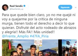 imagen del contenido Sendic desmiente que él o su sector vayan a quejarse en el Frente Amplio por críticas de una murga en acto de Piriápolis
