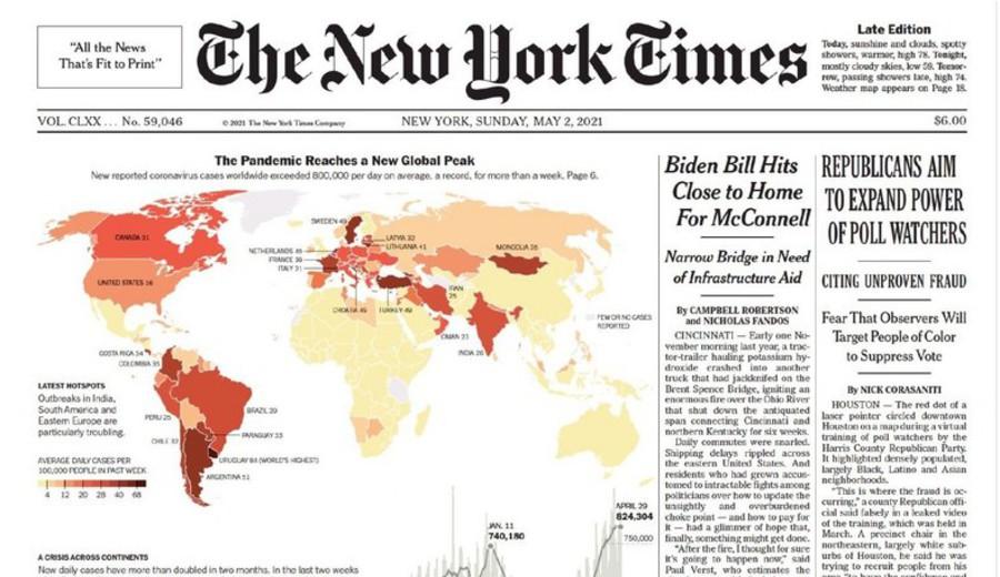 """imagen de The New York Times """"destaca"""" a Uruguay por liderar en casos nuevos cada 100 mil habitantes por Covid-19"""