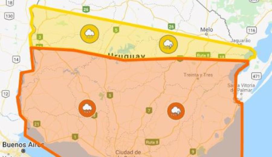 imagen de Advertencia naranja para la mitad sur del país